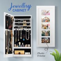 Wall Hanging Jewellery Cabinet Organizer w/ Photo Frames-White