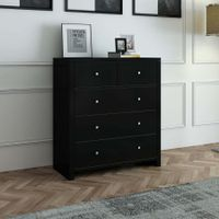Modern Black Tallboy Chest of Drawers Dresser w/3 Large & 2 Half Storage Drawers