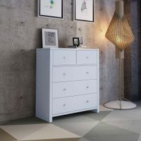 Modern White Tallboy Chest of Drawers Dresser w/3 Large & 2 Half Storage Drawers