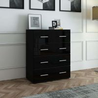 4 Chest of Drawers Tallboy Cabinet High Gloss Front Storage Dresser - Black