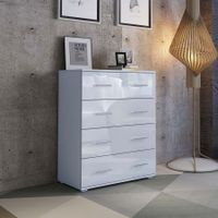 4 Chest of Drawers Tallboy Cabinet High Gloss Front Storage Dresser - White