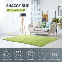 200x300cm Fluffy Shaggy Area Rug Large Green Carpet Home Bedroom Anti-Slip Floor Mat
