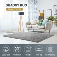 200x300cm Fluffy Shaggy Area Rug Large Grey Carpet Home Bedroom Anti-Slip Floor Mat