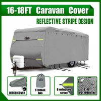 Heavy Duty 16-18ft Waterproof UV 4 Layer Caravan Cover w/Hitch Cover & Carry Bag