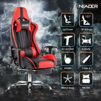 Ergonomic High Back Leather Office Chair Desk Gaming Chair-Red