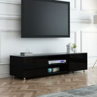 TV Stand 160cm Lowline Entertainment Cabinet High Gloss Front Wood Unit Black