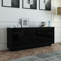 Wooden 4 Doors Sideboard Buffet Table High Gloss Front Wood Cabinet -Black