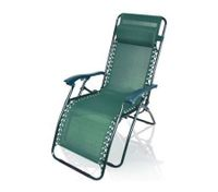 Reclining Sun Bed Beach Chair with Padded Head Rest - Green