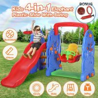 Kids Toddler Slide Swing Basketball Hoop Playset Elephant Style