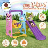 Colourful Swing Slide Basketball Playground Set Kids Play Gym