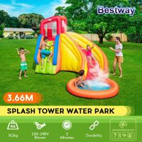 Bestway Inflatable Water Slide Park Splash Pool 3.66x3.37m Outdoor Play Gym