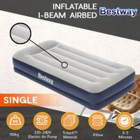 Bestway Inflatable Bed Single Size Air Mattress with Built-in Pump and Pillow