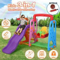 Kids Outdoor Playground Slide Swing Basketball Set