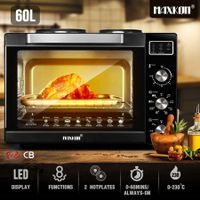 Maxkon New 60L Benchtop Convection Oven Rotisserie Portable Toaster with Hot Plates
