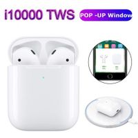 i10000 TWS Pop up Bluetooth 5.0 Earphone Wireless Charging Earphones Support Wireless Charging  1:1 Replica Not w1 chip i9s i10 i30 i60 i100 i200 tws i 500