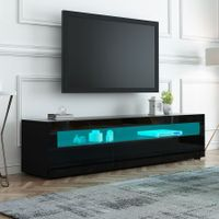 Black Wooden TV Stand TV Table RGB LED High Gloss Front 196cm