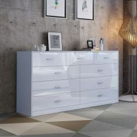 5 Drawer Cabinet Sideboard Bathroom Storage Units White High Gloss Front