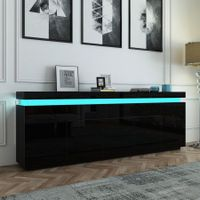 180cm Wood Sideboard Cabinet 5 Doors Storage Buffet Table with RGB LED Black