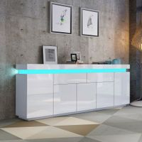 180cm Wood Sideboard Cabinet 5 Doors Storage Buffet Table with RGB LED White