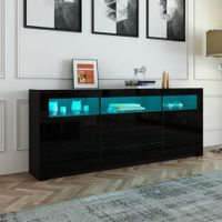 160cm TV Stand Cabinet Sideboard with Black High Gloss Front RGB LED