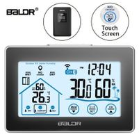 Baldr Wireless Weather Station Touch Screen Thermometer Hygrometer Indoor Outdoor Forecast Sensor Calendar 3 CH