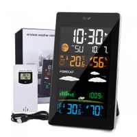 Weather Stations Wireless with Outdoor Sensor, 21 In 1 Weather Forecast Station, LCD Color Screen, Hygrometer Thermometer Temperature Display Alarm Clock with EN/DE/FR Instruction Manual