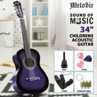 Melodic 34'' Kids Acoustic Guitar 6 Strings Tuner Cutaway Wooden Kids Gift Purple