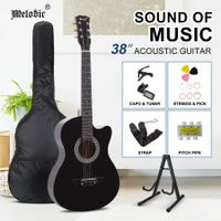 Melodic 38???Inch Wooden Folk Acoustic Guitar Classical Full Size Cutaway Full set Black