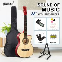 Melodic 38 Inch Wooden Folk Acoustic Guitar Classical Full Size Cutaway Full set Nature