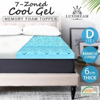 6m Memory Foam Mattress Topper Double Size with 7 Zone Texture