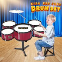 New Kids Toys Jazz Rock Drum Set Drums Cymbal Stool Sticks Red