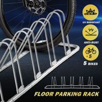 5 Bike Floor Parking Rack Powder Coated Steel Bike Rack Grey