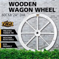 "White Wooden Wagon Wheel Outdoor Decoration Garden Ornaments 24"" Timber"