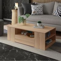 Modern Coffee Table Oak Finish Wood Furniture with Storage Drawers and Shelves