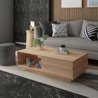 Square Wooden Coffee Table Living Room Furniture 1 Drawer Oak