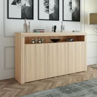 Wooden Buffet Sideboard Cabinet Cupboard with 3 Doors Oak