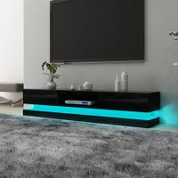 Modern TV Stand High Gloss Front Wood Entertainment Unit - Black