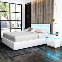 Double PU Leather Gas Lift Storage Bed Frame Wood Bedroom Furniture w/LED Light - White
