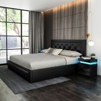 Modern Double Size Wood Bed Frame PU Leather Gas Lift Storage Bed Base - Black
