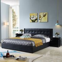 Leather Bed Frame King with Storage Black