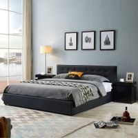 King Size Bed Frame PU Leather Gas Lift Storage Bed Base Wood Furniture - Black