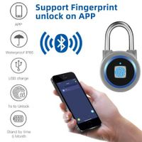 Portable Bluetooth Smart Keyless Fingerprint Lock Waterproof APP / Fingerprint Unlock Anti-Theft Security Padlock Door