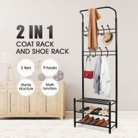 2-in-1 Metal Clothes Coat Jacket Rack and Shoe Storage Rack Black