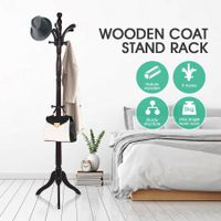 Wooden Coat Stand Rack Clothes Hanger Brown Colour