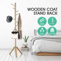 Wooden Coat Stand Rack Clothes Hanger Natural Colour