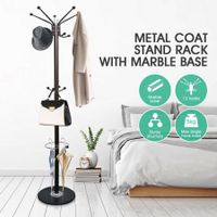 Metal Coat Jacket Stand with Marble Base and Umbrella Hook 3-Tier Style