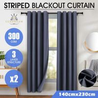 LUXDREAM 2X Blockout Striped Curtains 3 Layers Darkening Drapes 140X230CM - Grey