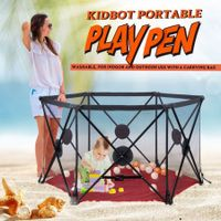 Kidbot Travel Child Pop Up Playpen Foldaway Baby Playpen 6-Panel Red