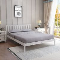 White Wooden Bed Frame Timber Bed Base Bedroom Furniture Solid Pine