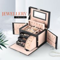 Newest Jewellry Organiser Travel Jewelry Case with Mirror Black